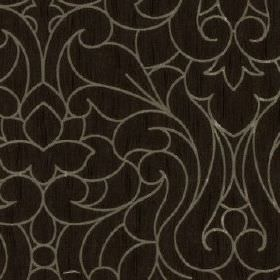 Makeda - Bark - Black fabric made from 100% polyester, patterned with a light grey design of large, elegant swirls