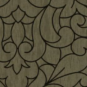 Makeda - Ebony - Large, elegant swirls outlined in black on a very slightly streaky dove grey coloured 100% polyester fabric background