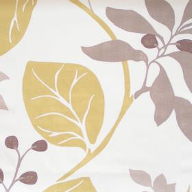 Bourey  - Mimosa - Mimosa yellow floral pattern on white fabric