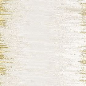 Jinny - Zest - White polyester and cotton blend fabric printed with large, sweeping areas of colour in subtle off-white and light gold