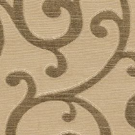 Nidia - Gold - Rich brown and latte coloured fabric blended from polyester and cotton, featuring a large design of stylish swirls