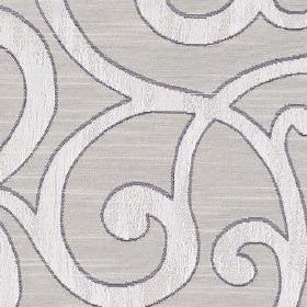 Nidia - Ivory - Swirls creating a large, sophisticated, elegant pattern in three light shades of grey on polyester and cotton fabric