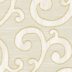 Nidia - Zest - Pale grey polyester and cotton blend fabric behind a large, elegant design of chalk white swirls edged with gold outlines