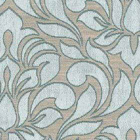 Zula - Azure - Elegant, sophisticated, simple leaf patterns covering polyester and cotton blend fabric in classic light grey and blue