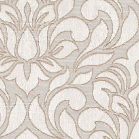 Zula - Champagne - Large, simple floral and leaf patterns in off-white with grey outlines on light grey polyester and cotton blend fabric