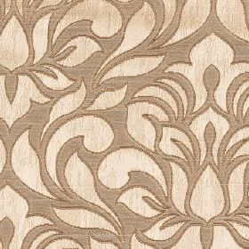 Zula - Gold - Polyester and cotton blend fabric made in light brown, patterned with simple florals and leaves in a warm cream colour