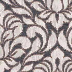 Zula - Platinum - Silvery white coloured flowers and leaves creating a simple, elegant pattern on dark navy blue polyester and cotton fabric