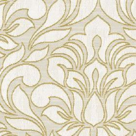 Zula - Zest - White, pale grey and light brown coloured polyester and cotton fabric patterned with simple, elegant flowers and leaves