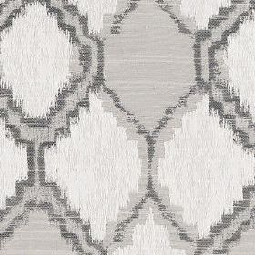 Hebe - Ivory - Rough, patchily printed geometric shapes printed on polyester and cotton blend fabric in light and dark shades of grey