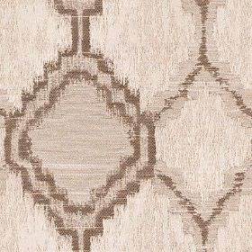 Hebe - Linen - Patchily printed brown-beige coloured polyester and cotton blend fabric featuring a geometric design in dark brown