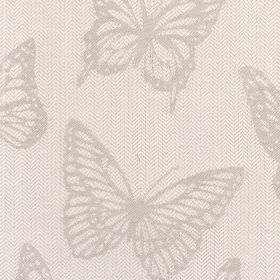 Selsy - Stone - Fabric with light grey background with darker butterfly pattern