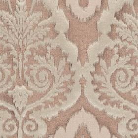 Winslow - Blush - Ornate patterns printed in light grey on a dusky pink polyester, cotton and linen blend fabric background