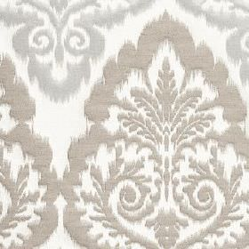 Winslow - Dove - Polyester, cotton and linen blend fabric made in white and light grey, featuring a large, repeated, ornate pattern