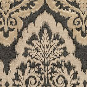 Winslow - Ebony - Latte and light pinkish grey patterns creating large, ornate designs on polyester, cotton and linen fabric in dark grey