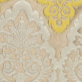 Winslow - Mimosa - Fabric made from polyester, cotton and linen in light gold and two shades of grey, featuring large, ornate patterns