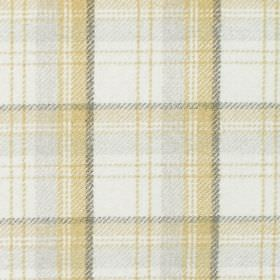 Edderton - Dijon - Fabric with cream background with shades of grey and yellow plaid