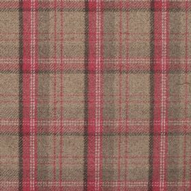 Edderton - Cranberry - Fabric wth brown background with red and taupe plaid pattern