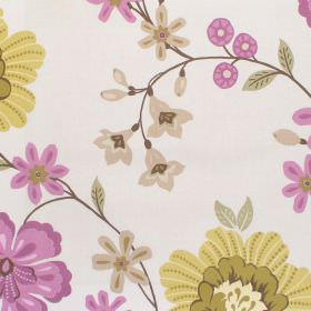 Eden - Heather - White fabric with heather purple and yellow flower impressions