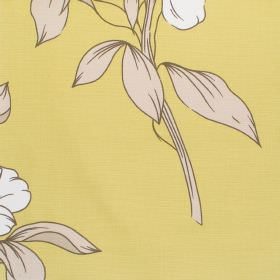 Capel - Heather - Yellow fabric with a classic modern floral design