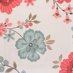 Eden - Coral - Light sandy fabric with coral red and blue flower impressions