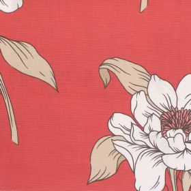 Capel - Coral - Coral red fabric with a classic modern floral design