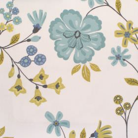 Eden - Sky - Light sandy fabric with sky blue and yellow flower impressions