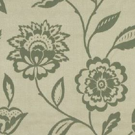 Edina - Duck Egg - Stylish iron grey coloured flowers creating a fun pattern on a light grey 100% polyester fabric background