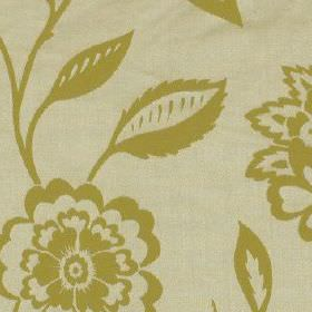 Edina - Mimosa - Putty coloured 100% polyester fabric patterned with fun floral patterns in a dark gold colour