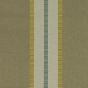 Hardy - Latte - Vertical stripes in grey-beige, pale grey-blue, dusky green and teal running down fabric made from 100% polyester