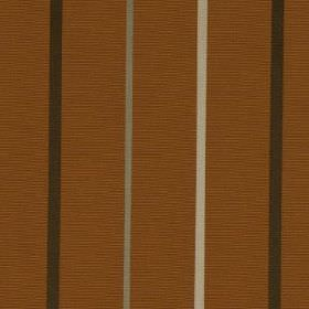Mira - Burnt Orange - Thin light grey, white and black stripes running vertically down a rich orange-brown 100% polyester fabric background