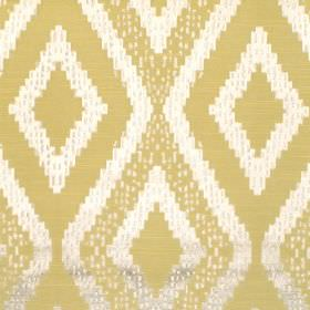 Akuchi - Zest - Fabric with lemon yellow background with bold lighter diamond pattern