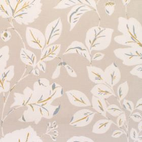 Haylen - Mimosa - Cotton fabric with dove grey background with white and mimosa leaf pattern