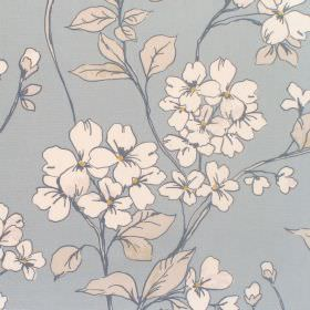 Anissa - Sky - Cotton fabric with sky blue background with whte floral pattern
