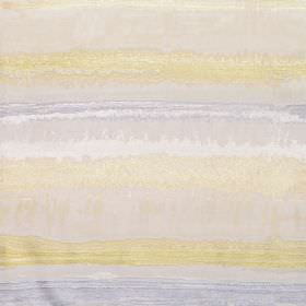 Kayli - Mimosa - Cotton fabric with dove grey, yellow,and shades of blue horizontal stripes