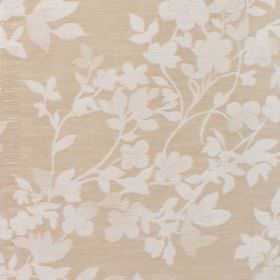 Litzy - Cashew - Cotton fabric with beige background with lighter leaf pattern