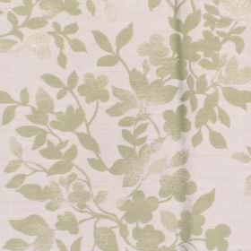 Litzy - Pistachio - Cotton fabric with white background with light green leaf pattern
