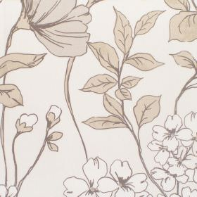Anissa - Dove - Cotton fabric with dove background with pale alpine floral pattern