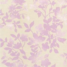 Litzy - Mauve - Cotton fabric with white background with mauve leaf pattern