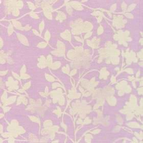 Litzy - Mauve - Cotton fabric with mauve background with white floral and leaf