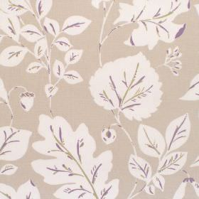 Haylen - Mauve - Cotton fabric with dove grey background with white and mauve leaf pattern