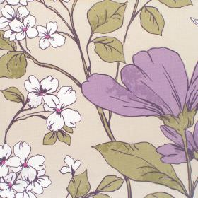 Anissa - Mauve - Cotton fabric with light background with mauve and white floral pattern