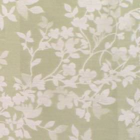 Litzy - Pistachio - Cotton fabric with light green background with white leaf pattern
