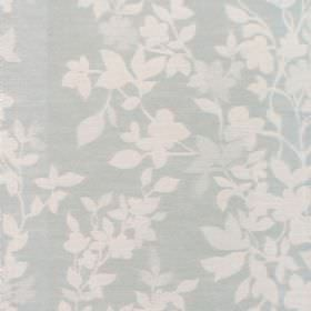 Litzy - Powder Blue - Cotton fabric with light blue background and powder blue leaf pattern