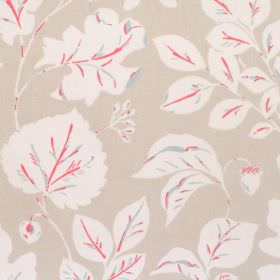 Haylen - Lychee - Cotton fabric with beige background and white leaf pattern