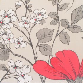 Anissa - Lychee - Cotton fabric with light beige background with red and white floral pattern