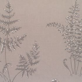 Elowen - Slate - Cotton fabric in grey with darker feint frond-like pattern