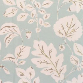 Haylen - Alpine - Cotton fabric with light blue background and white leaf pattern
