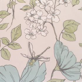 Anissa - Alpine - Cotton fabric with light grey background with pale alpine floral pattern