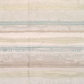 Kayli - Alpine - Cotton fabric with light grey background wth pale blue, taupe and white horizontal stripes