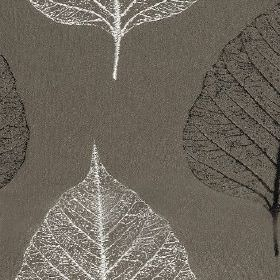 Brice - Slate - Fabric made from 100% polyester, featuring delicate, elegant leaf skeleton designs made in black, white and dark grey